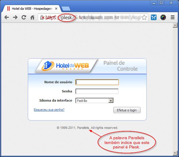 Tela de login do Painel de Controle Plesk 10 (plataforma Windows)