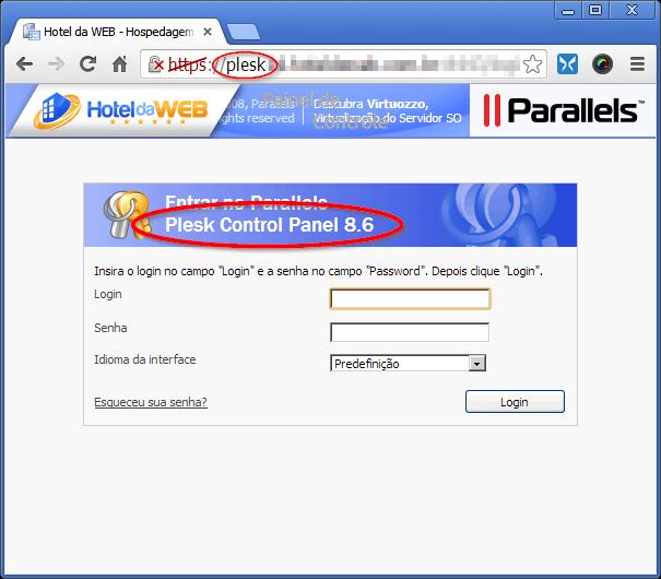 Tela de login do Painel de Controle Plesk 8 (plataforma Windows)